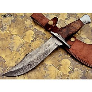 Poshland Fixed Blade Survival Knife 1 REG-274, Handmade Damascus Steel 13.00 Inches Hunting Knife - Rose Wood with Damascus Steel Guards Handle