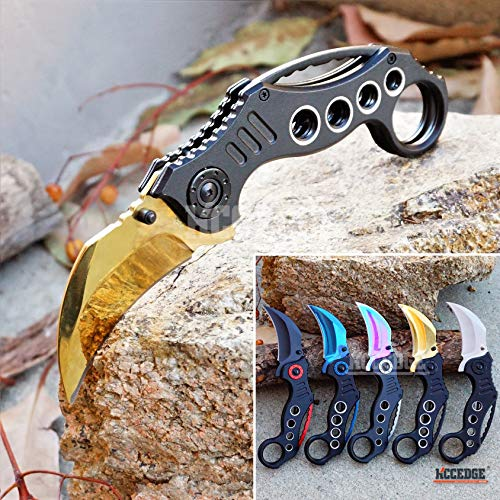 KCCEDGE BEST CUTLERY SOURCE  1 KCCEDGE BEST CUTLERY SOURCE Pocket Knife Camping Accessories Survival Kit Razor Sharp Karambit Survival Folding Knife Camping Gear EDC 55310 (Gold)
