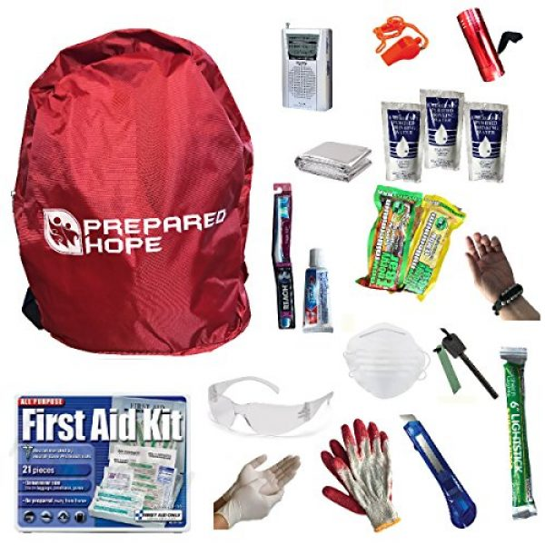 Prepared Hope Survival Kit 1 Prepared Hope ESSENTIALS Emergency Survival Kit for Camping, Hiking, and Bug-Outs with Backpack Included
