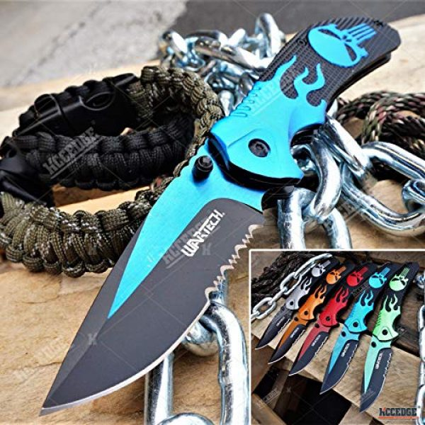 KCCEDGE BEST CUTLERY SOURCE Folding Survival Knife 1 KCCEDGE BEST CUTLERY SOURCE EDC Pocket Knife Camping Accessories Razor Sharp Edge Flame Skull Folding Knife Camping Gear Survival Kit 58403