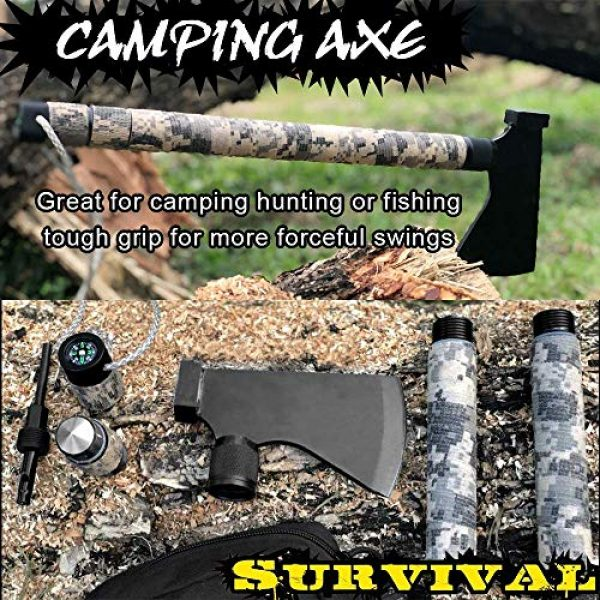 iunio Survival Kit 2 iunio Camping Axe, Hatchet with Sheath, Multi-Tool, Camp Ax, Survival Gear, Folding Portable Tools, for Hiking, Backpacking, Emergency, Hunting, Outdoor (Black with Bag)