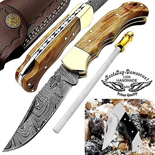 Best.Buy.Damascus1  1 Pocket Knife Olive Wood 6.5'' Damascus Steel Knife Brass Bloster Back Lock Folding Knife + Sharpening Rod Pocket Knives 100% Prime Quality+ Buffalo Horn Small Pocket Knife + Damascus Knife