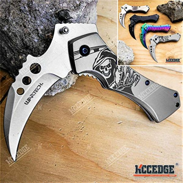 KCCEDGE BEST CUTLERY SOURCE Folding Survival Knife 1 KCCEDGE BEST CUTLERY SOURCE Pocket Knife Camping Accessories Survival Kit 5 Inch Grim Reaper Scythe Tactical Knife Hunting Knife Camping Gear 78364