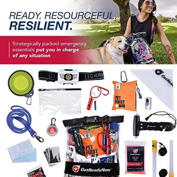 GetReadyNow Survival Kit 3 GETREADYNOW Pups & Peeps Emergency Survival Kits - Essential First Aid + Deluxe Supplies to Keep Your Four-Legged Friend Safe While on The Road, Camping, Hiking, or Unexpected Dog Park Emergencies