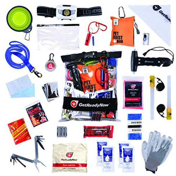 GetReadyNow Survival Kit 2 GETREADYNOW Pups & Peeps Emergency Survival Kits - Essential First Aid + Deluxe Supplies to Keep Your Four-Legged Friend Safe While on The Road, Camping, Hiking, or Unexpected Dog Park Emergencies