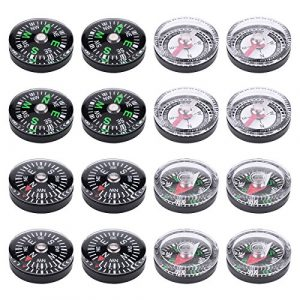 Wei Shang  1 Wei Shang 16Packs 20mm Mini Button Compasses Oil Filled for Camping Hiking Boating Survial Traveling