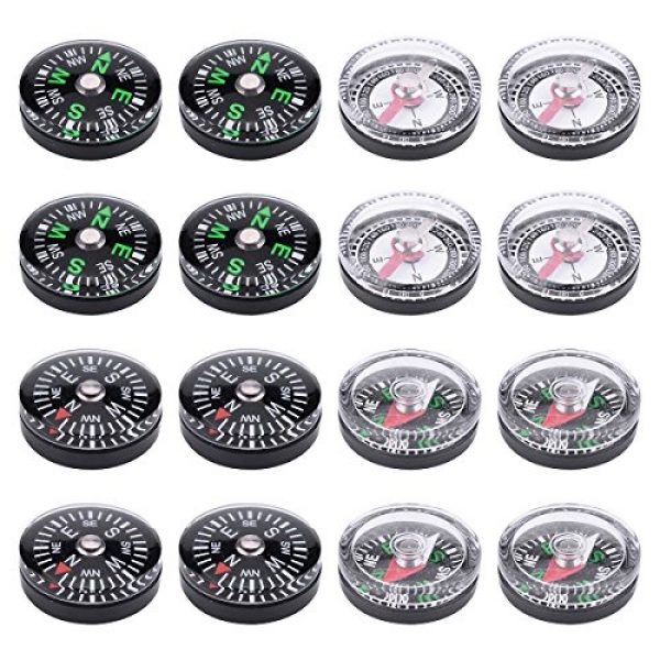 Wei Shang Survival Compass 1 Wei Shang 16Packs 20mm Mini Button Compasses Oil Filled for Camping Hiking Boating Survial Traveling
