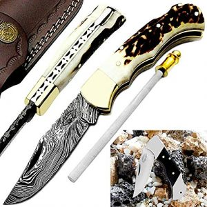 Best.Buy.Damascus1  1 Pocket Knife 6.5''Stag Horn Damascus Steel Knife Brass Bloster Back Lock Folding Knife +Real Horn Handel Damascus Knife +Sharpening Rod+Pocket Knives 100% Prime Quality+Buffalo Horn SmallPocket Knife