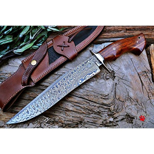 Bobcat Knives Fixed Blade Survival Knife 1 Custom Handmade Bowie Knife Hunting Knife Promotional Price Full Tang Damascus Steel 10'' Solid Walnut Wood Handle with Nice Sheath