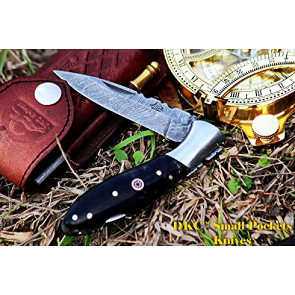 "DKC Knives Folding Survival Knife 1 DKC Knives DKC-58 Little Jay Series Knives Damascus Folding Pocket Knife 4"" Folded 7"" Long 4.7oz oz High Class Looks Hand Made LJ-Series"