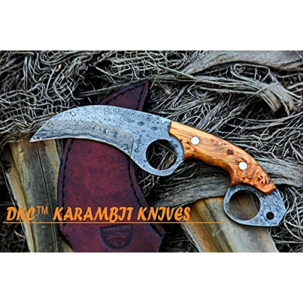 """DKC Knives Fixed Blade Survival Knife 1 DKC Knives (5 5/18) DKC-87-DS OWL Fox Damascus Steel Skinner Hunting Knife 8"""" Long 6.2oz High Class Looks Incredible Feels Great in Your Hand and Pocket Hand Made"""