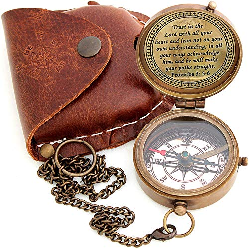 Sara Nautical Survival Compass 1 Sara Nautical Trust in The Lord with All Your Heart Engraved Compass, Proverbs 3: 5-16 Engraved Gifts, Confirmation Gift Ideas, Religious Gifts, Missionary Gifts