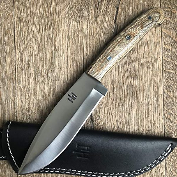 Hobby Hut Fixed Blade Survival Knife 1 Hobby Hut HH 316 Custom Handmade 10.5 inches 420C Stainless Steel Hunting Knife with Sheath, Fixed Blade Knife, Micarta Handle Designed for Hunting Camping and Survival