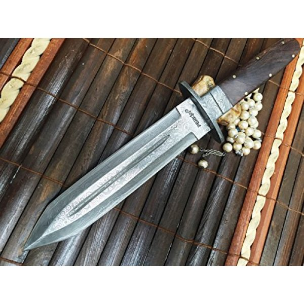 Perkin Fixed Blade Survival Knife 1 Fixed Blade Hunting Knife with Sheath Damascus Steel Full Tang Blade