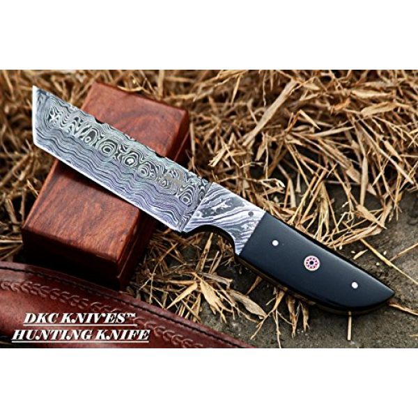 "DKC Knives Fixed Blade Survival Knife 1 DKC-524-DS Tanto Sky Damascus Hunting Knife 10"" Long 10 oz Black Handle 5"" Blade"