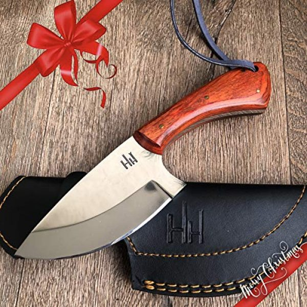 Hobby Hut Fixed Blade Survival Knife 1 Hobby Hut HH-307|Custom Handmade Hunting Knife with Sheath | 420 Stainless Steel Fixed Blade, Micarta Handle|Leather Sheath| Designed for Skinning & Camping