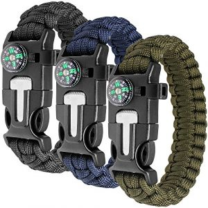 maxin Survival Compass 1 maxin Paracord Bracelet Kit Set of 3 for Outdoor Survival, 9 INCH Survival Gear Kit with Embedded Compass, Fire Starter, Emergency Knife & Whistle.