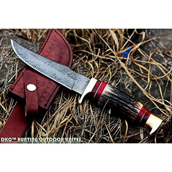 """DKC Knives Fixed Blade Survival Knife 1 DKC Knives (24 5/18) DKC-717 Bald Eagle Damascus Bowie Hunting Handmade Knife Stag Horn Fixed Blade 9.8oz 10"""" Long 5"""" Blade"""