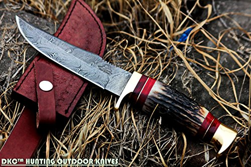 """DKC Knives  1 DKC Knives (24 5/18) DKC-717 Bald Eagle Damascus Bowie Hunting Handmade Knife Stag Horn Fixed Blade 9.8oz 10"""" Long 5"""" Blade"""