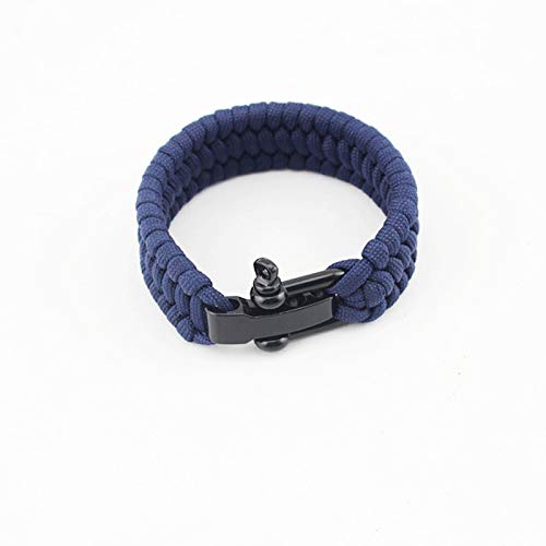 "AKZYTUE  2 AKZYTUE Paracord Survival Bracelet with Adjustable Stainless Steel D Shackle - Suitable for 7""-9"" Wrists"