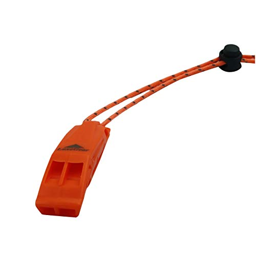 LuxoGear  7 LuxoGear Emergency Whistles with Lanyard Safety Whistle Survival Shrill Loud Blast for Kayak Life Vest Jacket Boating Fishing Boat Camping Hiking Hunting Rescue Signaling Kids Lifeguard Plastic 2 Pack