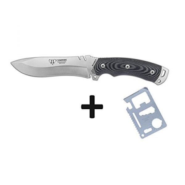 Cudeman Fixed Blade Survival Knife 3 Cudeman Survival Knife 291-MC, Boina Verde Cadet for use in Mountaineering, Full Tang, Blade of 5.9 inches, Camping Tool for Fishing, Hunting, Sport Activity + Multifunction Gift Card