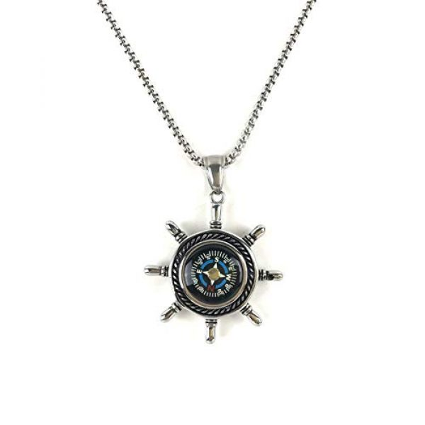 DETUCK Survival Compass 3 DETUCK(TM Rudder Compass Necklace Silver | Compass Gifts for Men Women Dad Mom | Compass Birthday Gift Men Boxes Wrap | Navigation Compass Camping Gift Hiking Gift