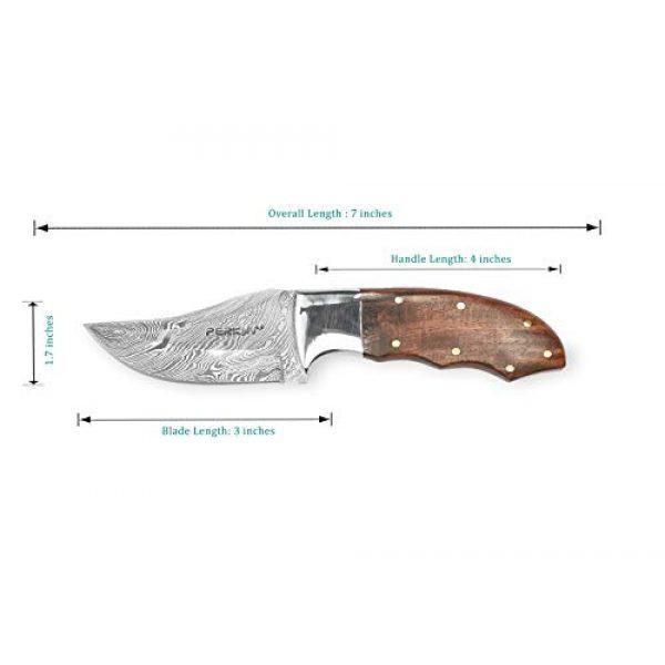 Perkin Fixed Blade Survival Knife 2 Perkin Hunting Knife with Sheath Damascus Steel Skinner Knife Full Tang H14