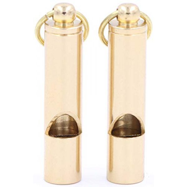 LeBeila Survival Whistle 4 LeBeila Brass Metal Emergency Whistles - 2 Pieces Adults/Kids Outdoor Loud Sound SOS Survival Kit Lifeguard Safety Whistle Keychain with Keyring for Camping Hiking Dog Train Couching Boating Hunting