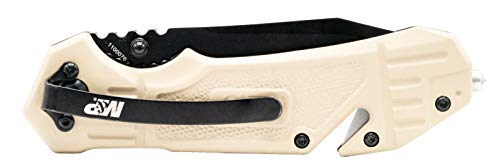 Smith & Wesson  4 Smith & Wesson M&P FDE 8.2in High Carbon S.S. Spring Assisted Folding Knife with 8in Serrated Tanto Blade and Rubberized Handle for Outdoor Survival and EDC