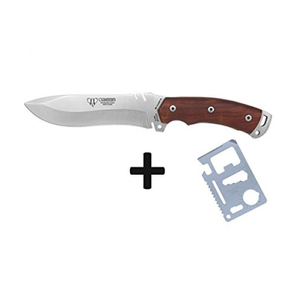 Cudeman Fixed Blade Survival Knife 3 Cudeman Survival Knife 291-KC Boina Verde Cadet with Cocobolo Handle, Blade use 5.9 inches, use in Mountaineering, Camping Tool for Fishing, Hunting, Sporting Activity + Multifunction Gift Card