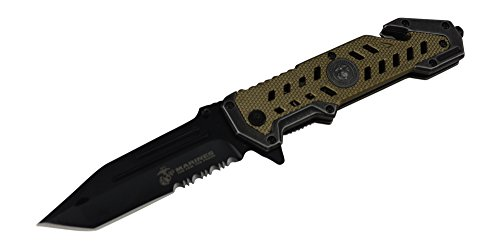 M-Tech  3 USMC Marine Tactical Folding Pocket Knife G10 Handle Sharp Tanto Blade Spring Assisted Military Knives EGA Elite Survival Semper Fi (Desert Tan)