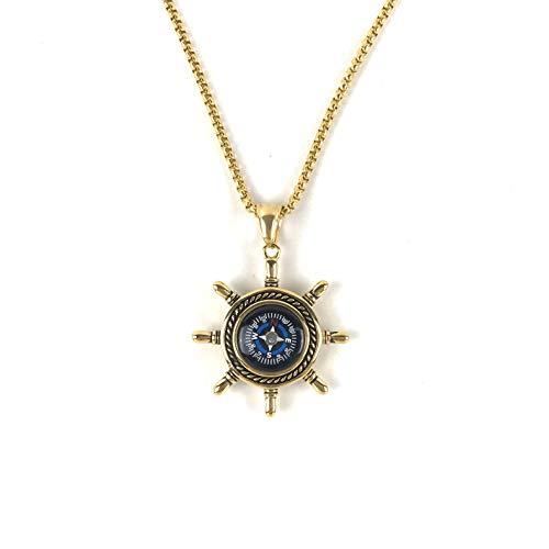 DETUCK  2 DETUCK(TM Rudder Compass Necklace Gold   Compass Necklace for Women Men Dad Mom   Compass Necklace Graduation Gift Birthday Gift Boxes Wrap