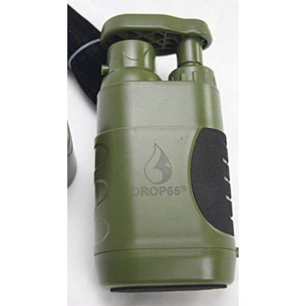 DROP65 Survival Water Filter 7 DROP65 Water Filter Filtration Purifier Portable Hand Operated Pump Purification System for Backpacking Survival Camping Hiking Emergency Disaster for Home or Outdoors