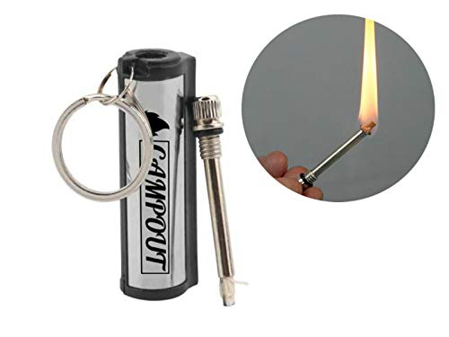 CAMPOUT Survival Fire Starter 2 CAMPOUT Permanent Match, Set of 5, Forever Match, Match Lighter, Fire Starter kit, Permanent Lighter, Camp Fire Starter, Forever Match Keychain, Waterproof Lighter, Metal Match, Improved Design 2020