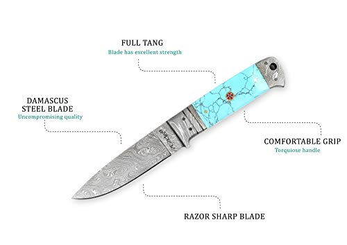 Perkin  3 Perkin - H510 | Damascus Steel Knife | 9.0 inches Hunting Knife with Leather Sheath