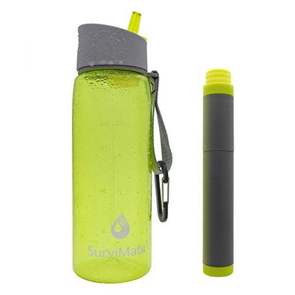 SurviMate Survival Water Filter 3 SurviMate Filtered Water Bottle for Camping, Hiking, Backpacking and Travel, BPA Free with 4-Stage Intergrated Filter Straw