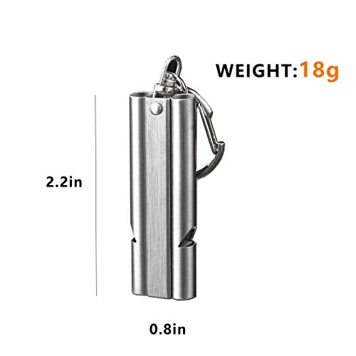 WAFJAMF  4 WAFJAMF Emergency Whistles High Pitch Double Tubes Premium Safety Survival Whistles with Lanyard Keychain for Outdoor Camping Hiking Boating Hunting Fishing 2 Pack