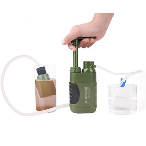 Purewell Survival Water Filter 4 Purewell Replaceable Water Filter for Portable Filtered Water Purifier - Emergency Water Filter Pump with 4-Stage Integrated Filter for Camping Hiking Backpacking