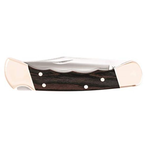 Buck Knives Folding Survival Knife 4 Buck Knives 110 Folding Hunter Knife with Finger Grooves and Leather Sheath,Brown