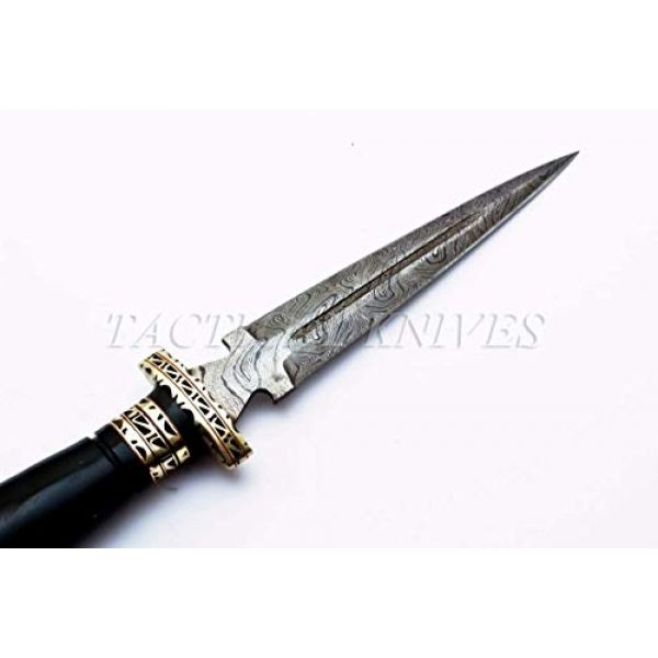 Bladess Fixed Blade Survival Knife 4 Damascus Steel Hunting Knife - Fixed Blade Knives with Sheath - Hunting Knife with Bull Horn Handle Hand Made Damascus Knife for Hunting, Camping. Survival and Tactical