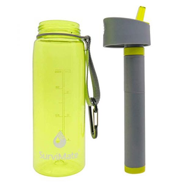 SurviMate Survival Water Filter 4 SurviMate Filtered Water Bottle for Camping, Hiking, Backpacking and Travel, BPA Free with 4-Stage Intergrated Filter Straw