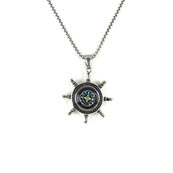 DETUCK Survival Compass 2 DETUCK(TM Rudder Compass Necklace Silver | Compass Gifts for Men Women Dad Mom | Compass Birthday Gift Men Boxes Wrap | Navigation Compass Camping Gift Hiking Gift