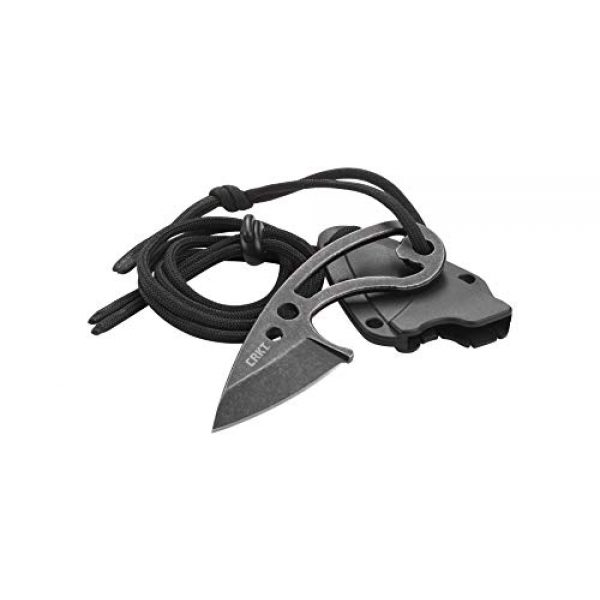 Columbia River Knife & Tool Fixed Blade Survival Knife 3 CRKT Owlet EDC Fixed Blade: Compact and Lightweight Everyday Carry Knife, Black Stonewash Finish, Bottle Opener, Sheath, Lanyard 2716