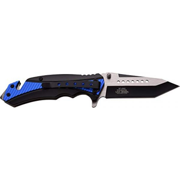 MTECH USA Folding Survival Knife 2 MTech USA MT-A950BL Spring Assist Folding Knife, Two-Tone Straight Edge Blade, Black And Blue Handle, 4.75-Inch Closed