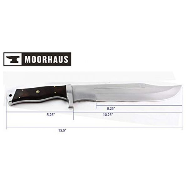 Moorhaus Fixed Blade Survival Knife 5 Moorhaus D2 Bowie with Leather Sheath