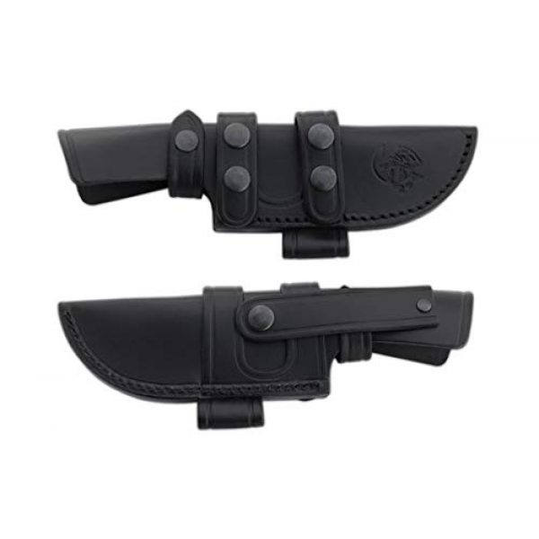 Cuchillos de Aventura J&V Fixed Blade Survival Knife 3 Survival Pocket Knife CAIMAN J&V with black Micarta handle, Hunting Pocket Knife with 4.72 inches blade and black leather sheath, Camping Tool for Fishing, Hunting, Sport Activity