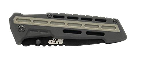 Smith & Wesson  3 Smith & Wesson M&P AR Overmold 8.2in High Carbon S.S. Folding Knife with 3.5in Serrated Tanto Blade and Rubber Handle for Outdoor Survival and EDC