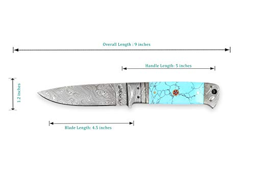 Perkin  2 Perkin - H510 | Damascus Steel Knife | 9.0 inches Hunting Knife with Leather Sheath