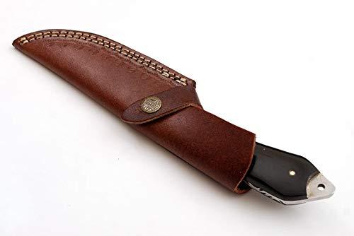 SharpWorld  6 SharpWorld Beautiful Damascus Knife Made of Remarkable Damascus Steel Buffalo Horn Handle -Best Hunting Knife with Brown Sheath TJ110
